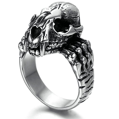 Stainless Steel Ring for Men, Birds-Skull Ring Gothic Black Band Silver Band 3020MM Size 10 Epinki