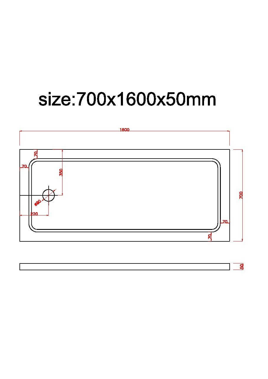 Rinforzato con Fibre di Vetro e Resina Poliestere Rettangolare Laneri Piatto Doccia in ABS Acrilico 70 x 100 cm