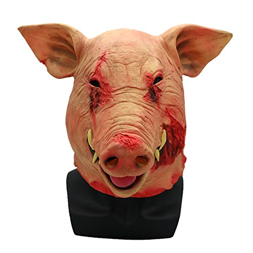 Scary Demon Costume Mask for Adults Horrific Pig Halloween Latex Mask Cosplay Props Realistic Evil Mask (One Size) -