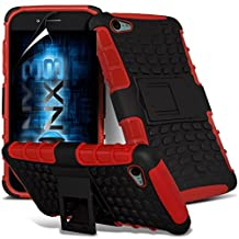 ONX3® ( Red ) Samsung Galaxy A5 2016 Case Custom Made Tough Survivor Hard Rugged Shock Proof Heavy Duty Case W/ Back Stand, LCD Screen Protector Guard, Polishing Cloth & Mini Retractable Stylus Pen