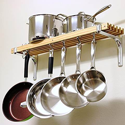 Cooks Standard Wall Mount Pot Rack (36 by 8-Inch) - Lighted Pot Rack