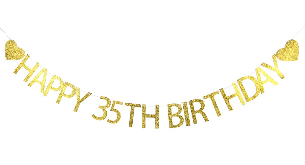 Lovely BITON Gold Happy 35th Birthday Banner Decoration Kit Themed Party Banner for Birthday Wedding Showers Photo Props Window Decor