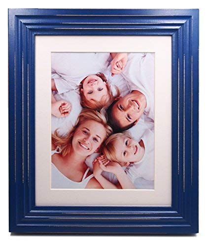 ZingVic 8x10 Blue Wood Picture Frame with Real Glass Front - with Mat for 6x8 or Without Mat for 8 by 10 - Paris Style Antiquated - Wide Molding - Table Desk Top or Wall Hanging