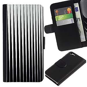 Billetera de Cuero Caso Titular de la tarjeta Carcasa Funda para Apple Iphone 6 4.7 / Black White Minimalist Abstract Vertical / STRONG
