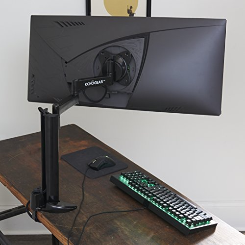"ECHOGEAR Single Monitor Desk Stand for Ultra-Wide Monitors up to 30"" - Control Swivel, Extension, and Tilt Without Tools - Easy Install with Wobble-Free Clamp Design - ECHO-GM1C"