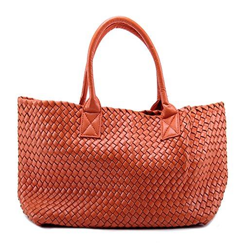 Leather Woven Handbag (New Women's Faux Woven Leather Fashion Celebrities Tote Bag w/ Bonus Coin Pouch (orange ))