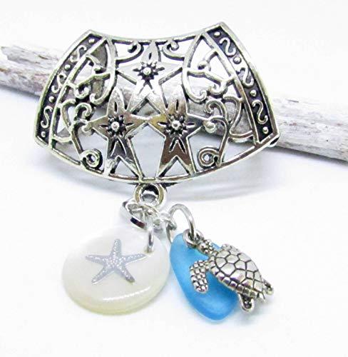 Starfish Scarf Pendant Slide, Seashell Scarf Slide, Scarf Jewelry, Scarf Ornament, Scarf Accessories, Scarf Bails