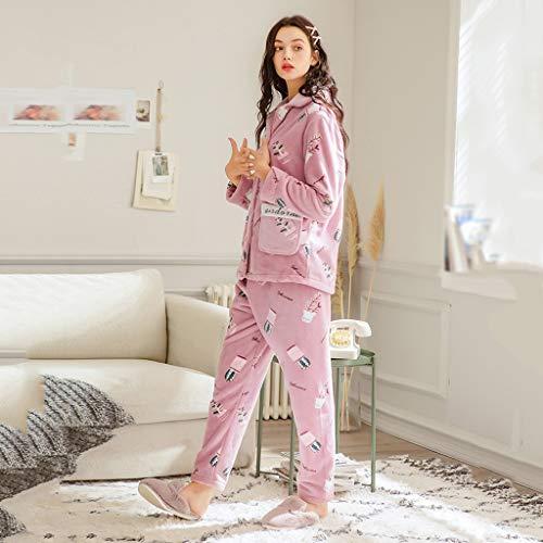 Usar Pijamas Con Vitalidad Para Otoño De Dulce Franela Invierno Estampado D Pueden Pink Mujer Punto Se Cálidos Solapa Chaqueta E Fuera Coral Camisones Y qRw46daFq