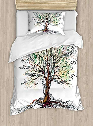 VANKINE Twin XL Extra Long Bedding Set, Music Duvet Cover Set, Musical Tree Autumnal Clef Trunk Swirl Nature Illustration Leaves Creative Design, Include 1 Flat Sheet 1 Duvet Cover and 2 Pillow Cases (Xl Fur Comforter Twin)