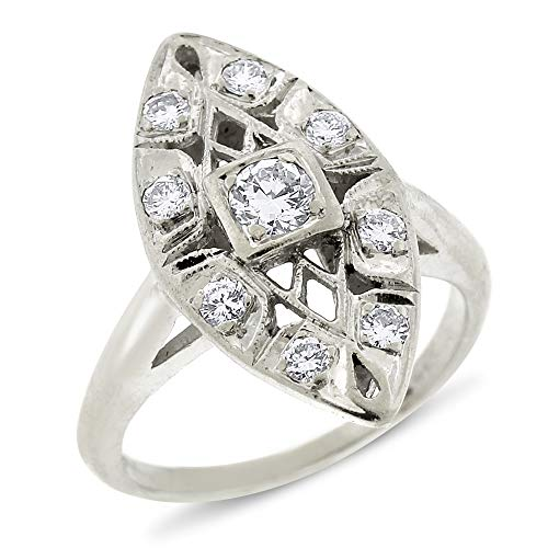 (0.50 Ct. Vintage Estate Diamond Milgrain Design Cocktail Ring in Solid 14k White Gold)