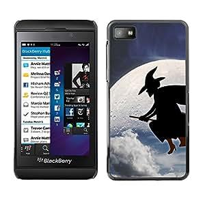 Blackberry Z10 - Metal de aluminio y de plástico duro Caja del teléfono - Negro - Halloween Moon Witch