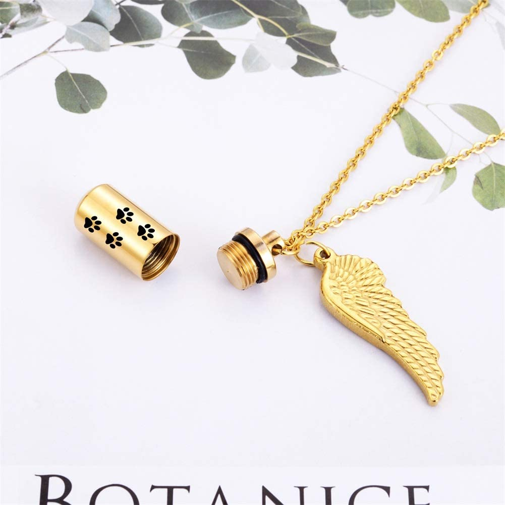 HooAMI Cremation Jewelry Urn Necklace for Ashes with Angel Wing Charm /& Pet Paw Print Cylinder