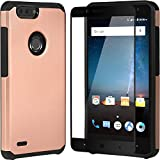 ZTE Blade Z Max Pro 2 Case Champagne,ZTE Sequoia Case with Tempered Glass Screen Protector,Hybrid Armor Rugged Heavy Duty Defender Best Protective Plastic Cover with Soft Silicon Slim Fit Phone Case