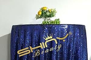 shinybeauty 60en redondo de lentejuelas tablecloth-blue para Halloween/Navidad/boda fiesta de cumpleaños Decoración