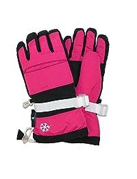 Grand Sierra Girls' 7-16 Snowboard Waterproof Glove, Pink and Black