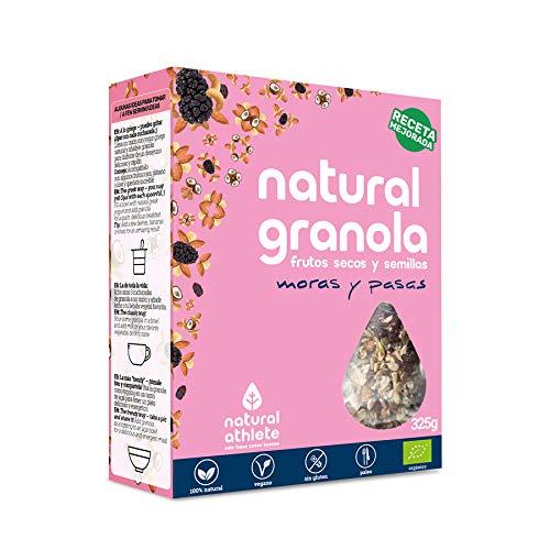 Granola *Nueva Receta* -Natural Athlete- Desayuno con frutos secos y semillas - 100% natural y orgánica, sin azúcar refinado. Pack 4x325gr (Moras - Cacao ...