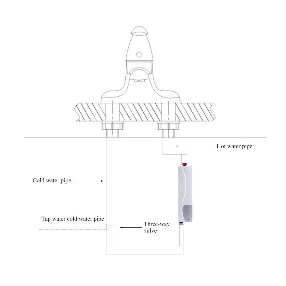 Fdit Mini Calentador de Agua Instant/áneo El/éctrico sin Tanque con V/álvula de Alivio de Presi/ón 220V 3000W para Cocina Ba/ño Rojo