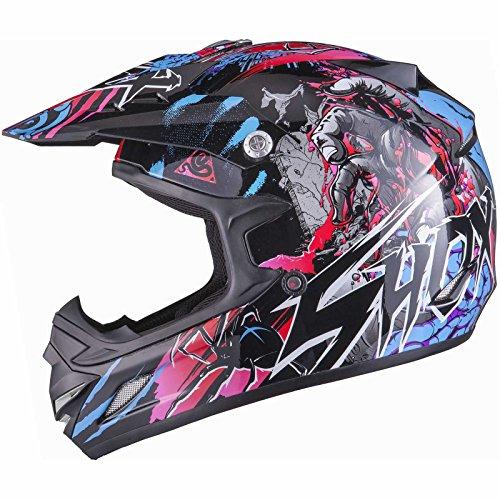 Shox MX-1 Nightmare Motocross MX Enduro Helm L Schwarz/Blau/Rosa