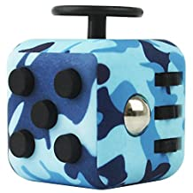 FIDGETERRELAX Stress Cube Relieves Anxiety and Depression for Adults and Children (Camouflage Blue)