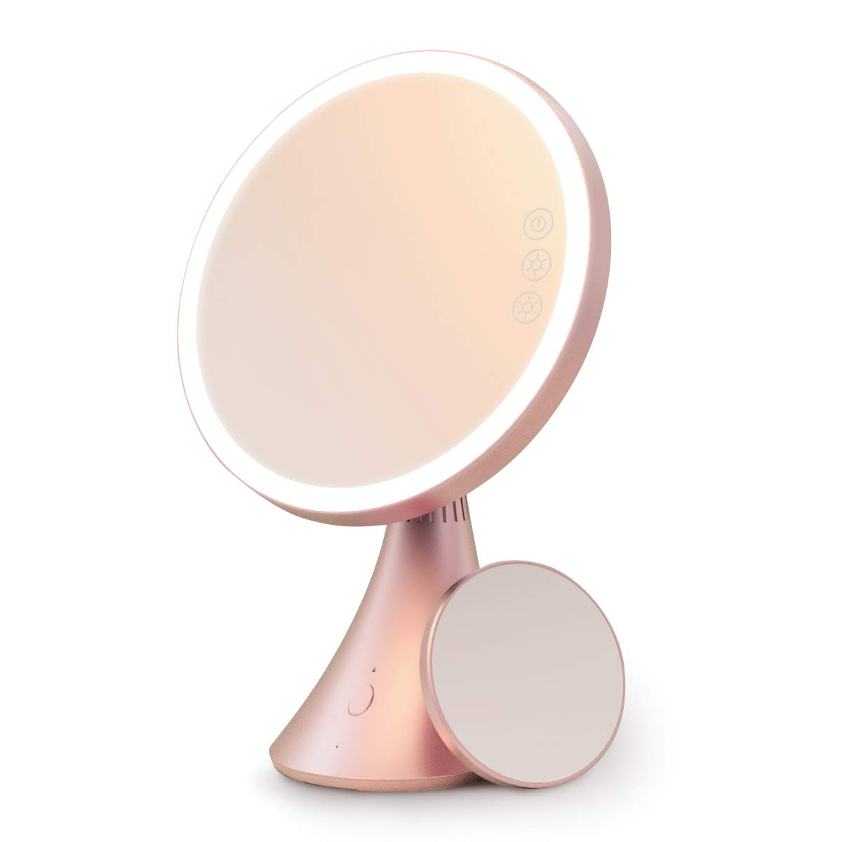 Babyltrl Lighted Makeup Mirror, Rechargeable 9 Inch Led Vanity Mirror with Bluetooth Speaker, 5X Magnification, Adjustable Color Temperature Brightness Tabletop Makeup Mirror