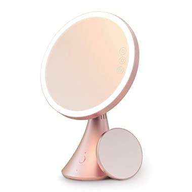 Babyltrl Lighted Makeup Mirror, Rechargeable 9 Inch Led Vanity Mirror with Bluetooth Speaker, 5X Magnification, Adjustable Color Temperature & Brightness Tabletop Makeup Mirror
