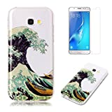 For Samsung Galaxy A5 2017 A520 Case with Pattern Wave,OYIME Glitter Bling Design Ultra Thin Slim Fit Protective Back Cover Soft Silicone Rubber Shell Drop Protection Anti-Scratch Transparent Bumper and Screen Protector