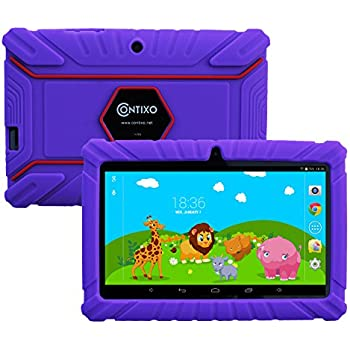 """HOLIDAY SPECIAL! Contixo Kids Safe 7"""" Quad-Core Tablet 8GB, Bluetooth, Wi-Fi, Cameras, 20+ Free Games, HD Edition w/ Kids-Place Parental Control, Kid-Proof Case (Purple) - Best Gift For Christmas"""