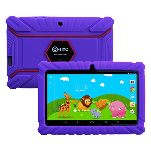 Contixo Kids Safe 7'' Quad-Core Tablet 8GB, Bluetooth, Wi-Fi, Cameras, 20+ Free Games, HD Edition w/ Kids-Place Parental Control, Kid-Proof Case (Purple) - Best Gift by Contixo