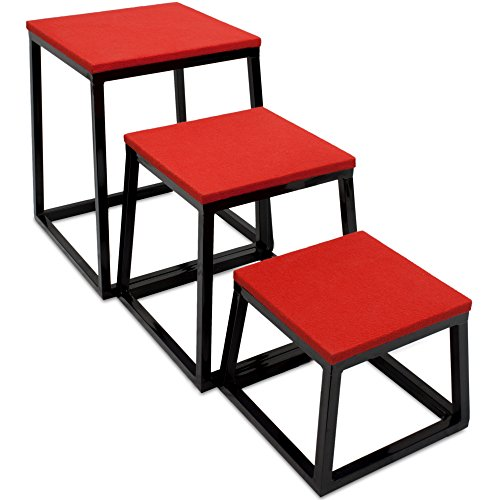 Set of 3 Plyometric Jump Boxes – Step Platform, Fitness Training & Conditioning Equipment for Increasing Vertical, Speed, & Stamina (12''/18''/24'') by Crown Sporting Goods by Crown Sporting Goods