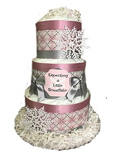 Expecting a Little Snowflake Baby Shower Diaper Cake- Pink by Rubber Ducky