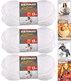 Bernat Softee Chunky Yarn Bundle Super Bulky Number 6, 3 Skeins, White 28005
