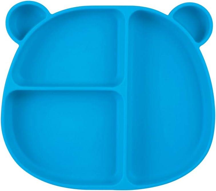 Azul BESLIME Ventosa Plato Ventosa,Plato Para Bebe Plato Silicona para Infantil con Mantel Individual-Ventosas Antivuelco para Tronas y Sillines-Seguro en Lavavajillas//Microondas