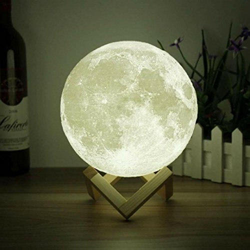 3D Space Light-3D Printing Stepless Dimmable-Moon Lamp Shade-Warm and White Touch Control Brightness with USB Charging Decor-Lunar Night Wooden Mount Gifts