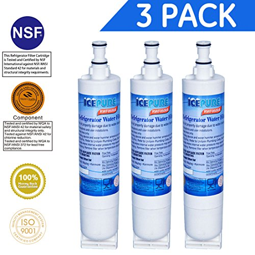 Icepure RWF0500A Compatible With Whirlpool 4396508, 4396510,Filter 5,EDR5RXD1,NL240V,WFL400 Refrigerator Water Filter 3PACK
