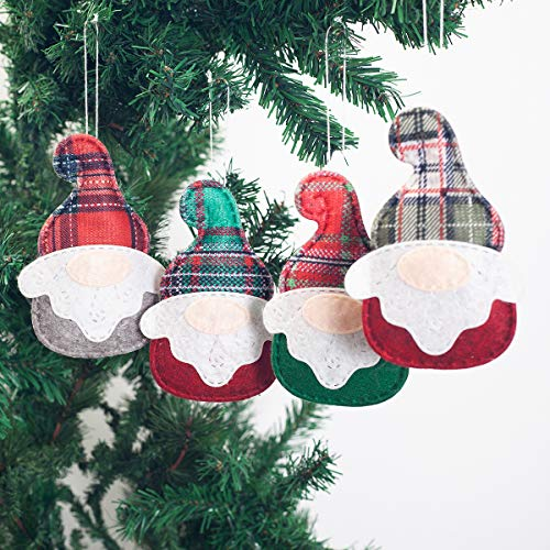 GMOEGEFT Gnome Holiday Ornaments Hanging Set, Plaid Swedish Tomte Party Favors, Home Decorations, Nursery Decor Set of 4]()
