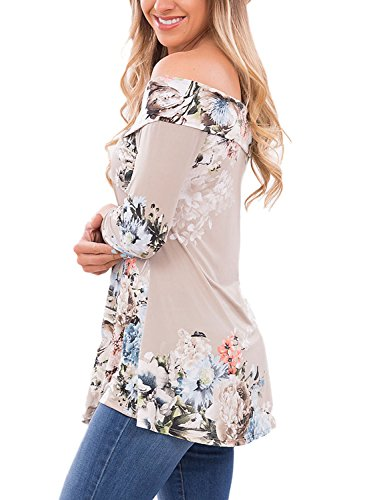 Chase Secret Womens Casual Off Shoulder 3 4 Sleeve Floral Print Blouses Tops Shirts Large Grey