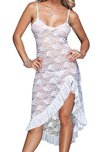 Modes Plus Size Womens Sexy See Through Lace Lingerie Gown Maxi Long Dress Set L-009-W-XL