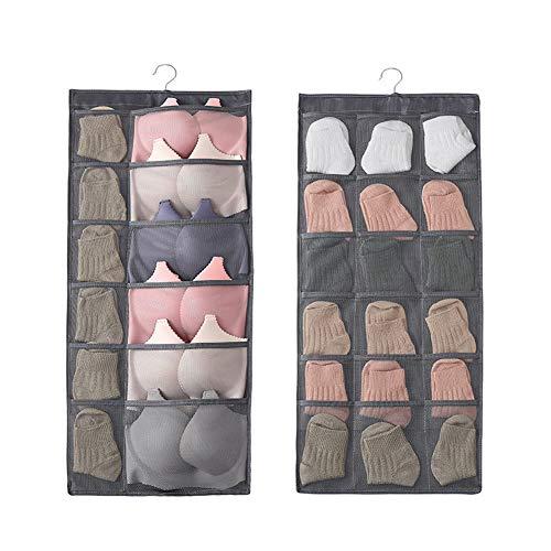 Aoolife 30 Mesh Pockets Hanging Storage Organiser with Metal Hanger, Dual-Sided Hanging Closet Organizer for Underwear, Stocking,Bra and Sock (Grey)