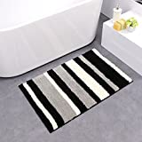 HEBE Bath Mats for Bathroom Non-slip Absorbent Bathroom Rugs Machine Washable Bath Rugs and Mats Entrance Floor Mats (black/grey,18×26