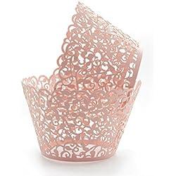 KEIVA Pack of 100 Vine Cupcake Holders Filigree Artistic Bake Cake Paper Cups Vine Designed Decor Wrapper Wraps Cupcake Muffin Paper Holders for Wedding Party Birthday Decoration (100, Pink)
