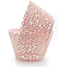 KEIVA Pack of 100 Vine Cupcake Holders Filigree Artistic Bake Cake Paper Cups Vine Designed Decor Wrapper Wraps Cupcake Muffin Paper Holders for Wedding Party Birthday Decoration (100, Pink)
