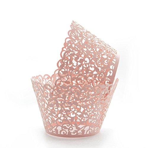 KEIVA Pack of 100 Vine Cupcake Holders Filigree Artistic Bake Cake Paper Cups Vine Designed Decor Wrapper Wraps Cupcake Muffin Paper Holders for Wedding Party Birthday Decoration (100, -