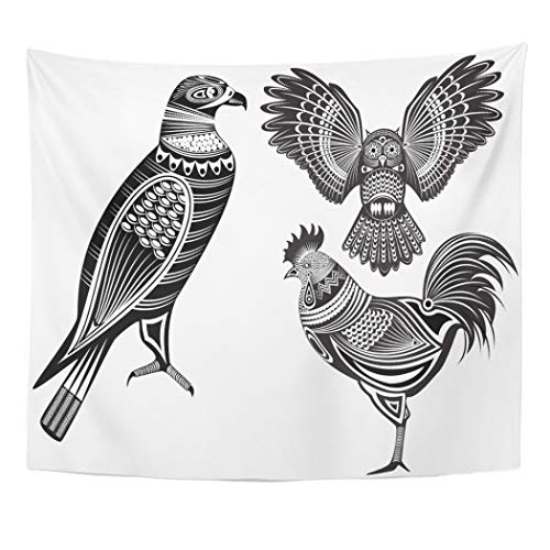 Semtomn Tapestry Eagle of Tribal Totem Animals Owl Tattoo Rooster BirdDecor Wall Hanging for Living Room Bedroom Dorm 60x80 ()
