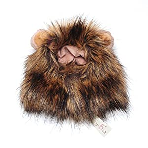 Pet Costume Lion Mane Wig for Dog Cat Halloween Dress up with Ears with Gift
