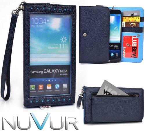 E x p o s e - Dark Blue Wallet Cover Phone Case Fits Pantech Vega R3 IM-A850L + NuVur ™ Key Chain (ESXLEXB1)