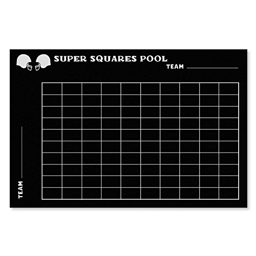 Super Bowl Squares Vinyl Chalkboard Grid ? 24? x 36? Adhesive Vinyl Chalk Board, 10x10 for Superbowl Football Party Supplies Game for Office, Bar, Home or Restaurant