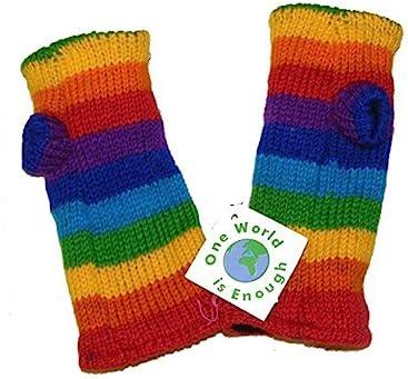 560d460b12b3a Hand knitted Fleece Lined Fair Trade 100% Wool Rainbow Coloured Wrist  Warmers   Arm Warmers