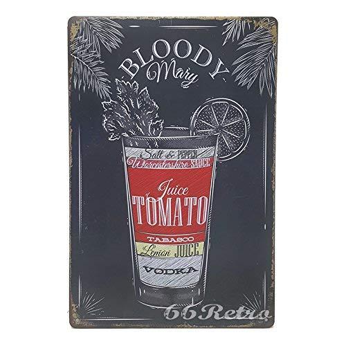 ERLOOD Bloody Mary Recipe Retro Vintage Bar Metal Tin Sign 12 X8 ()