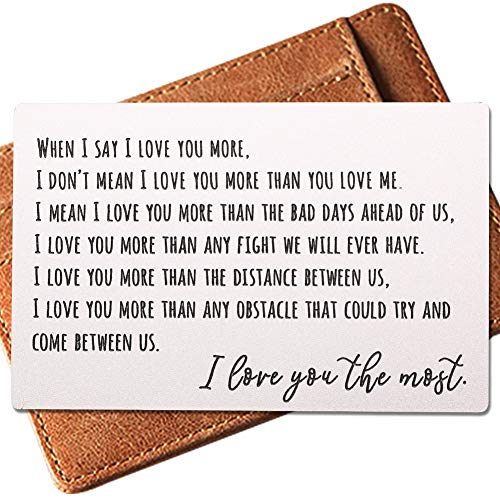 Engraved Wallet Inserts, Permanent Etching Engraving, Anniversary Gifts for Men, Best Mens Gifts Cards, Boyfriend Gifts,Best Busband Gifts,Unique Birthday Gifts for Men,I Love You More, Romantic Cards