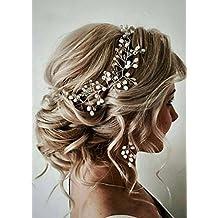 FXmimior Bride Hair Accessories Crystal Hair Vine Earrings Sets Headband Wedding Hair Comb Evening Party Hair Piece (silver) (headband ONLY)
